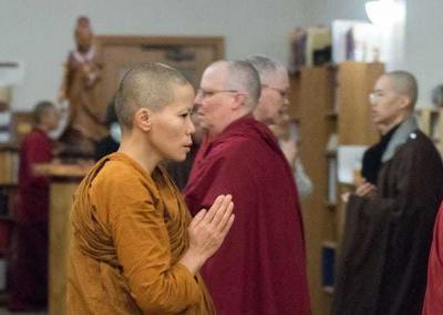 Nuns from all three traditions join in the practice of chanting Amitabha's name. Photo by Gen Heywood Photography.