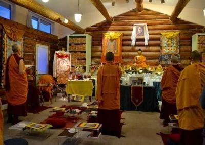 The Abbey sangha prepare for tsog.