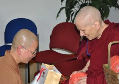 Dharma sisters Ven. Jenkir and Ven. Chodron.