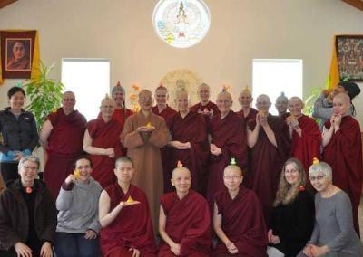 With all our duckies present, the Amitabha retreatants take a joyful photo.