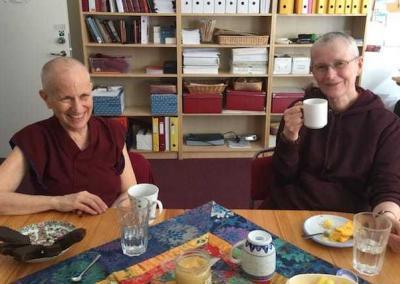 """Ven. Chodron enjoys a break with Ven. Tenzin Drolkar, """"the boss"""" at Phendeling Center."""