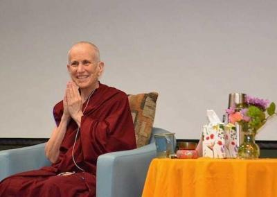 Ven. Chodron responds to the warm welcome from the audience.