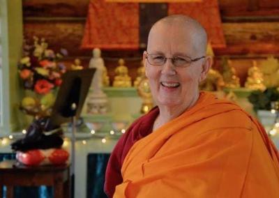 Joyful Bhikshuni Thubten Jigme is ready to begin.