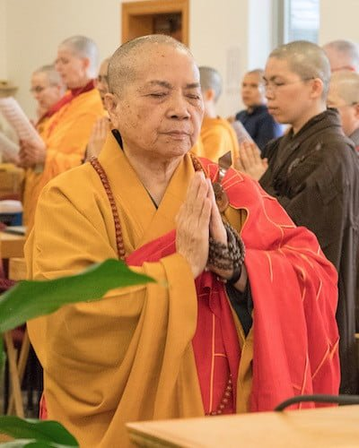 Bhikshunis Ven. Thubten Chodron, Ven. Master Wu Yin, and Ven. Jampa Tsedroen