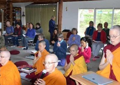 Ven. Semkye leads the prayers before teachings.