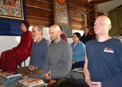 The group gets to meditate on the points of the teachings each day.