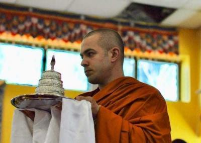 Ven. Tenzin leads the mandala offering.
