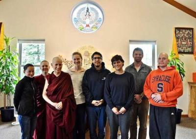 """Our young adults, """"the hope of the world,"""" with Ven. Chodron and Russell."""
