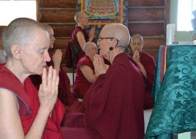 Ven. Samten joins in the opening prayers.