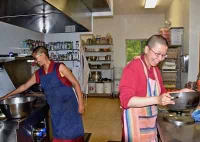 Ven. Choyang from Jangchub Choeling Nunnery in India, along with Ven. Damcho, makes at least 80 vegetarian momos! They are delicious!
