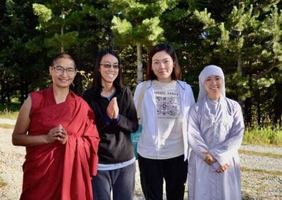 Ven. Choyang, Connie, Norzin, and Ven. Hanh Thuc share many joyful moments while staying at the Abbey.