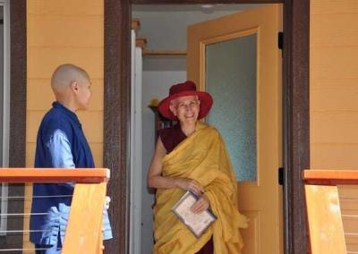 Anagarika Christina joyfully greets Ven. Chodron and invites her to teach.