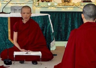 Ven. Pende leads a meditation session.
