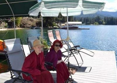Vens. Pema and Lamsel relax and enjoy each other's company, the beautiful lake, and the beautiful weather.