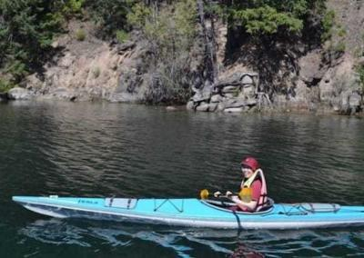 Ven. Damcho takes a contemplative trip with a kayak analyzing the non-duality of the subject, (herself) and the object (the water).