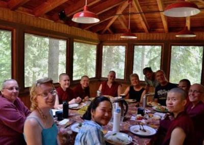 After plenty of exercise everybody enjoys a delicious lunch with Sarah, Doug, Kuni, Dan and Julia.