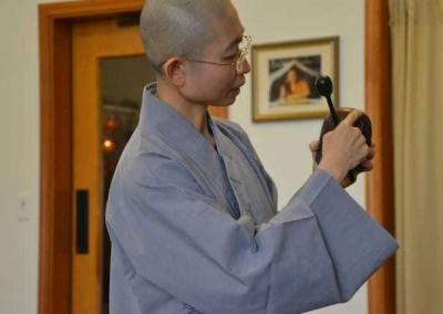 Ven. Zi-Chi, who spent about a month at the Abbey, joyously shared her knowledge and skills, including how to use the Dharma instruments for chanting.