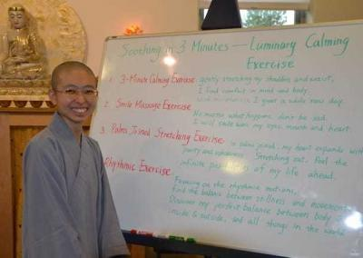Ven. Zi-Chi teaches guests and residents mindful exercises that include lots of stretching, smiling, and loving-kindness practices.