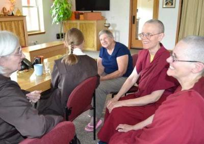 Carmelite nuns from a nearby hermitage in Washington catch up with Abbey nuns and guests.