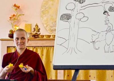 Monks and nuns—resident and guests—share aspects of monastic training in the daily Bodhisattva Breakfast Corner talks. (See our YouTube channel.)
