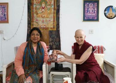 In Delhi, Venerable Chodron rejoices in publication of a new book by her dear friend Dr. Renuka Singh, director of Tushita Mahayana Meditation Centre-Delhi.