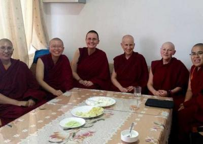 Abbey nuns visit the Jamyang Choling Nunnery's main office in Dharamsala.