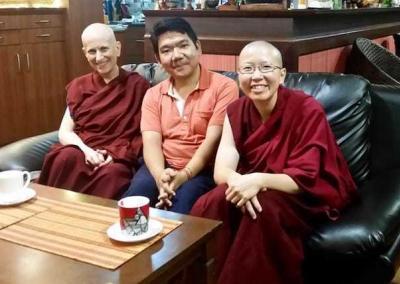 Venerables Chodron and Damcho meet Serkhong Rinpoche, the reincarnation of one of Ven. Chodron's root teachers.
