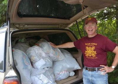 Ken has helped take care of the Abbey's recycling for many years.