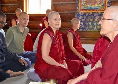 Ven. Semkye gives meditation instructions to our guests.