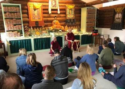 Vens. Tarpa and Semkye give meditation instruction and answer questions to about 20 students from the Mindful Leadership class at Gonzaga University.