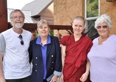 Ven. Lamsel's parents and grandmother visited for several days making warm connections with Ven. Chodron and the Abbey community.