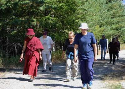 Anagarika Christina leads a silent forest walk.