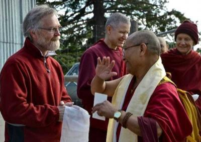 Greg (Ven. Lamsel's father), Ven. Losang. and guests say farewell to Geshe-la.