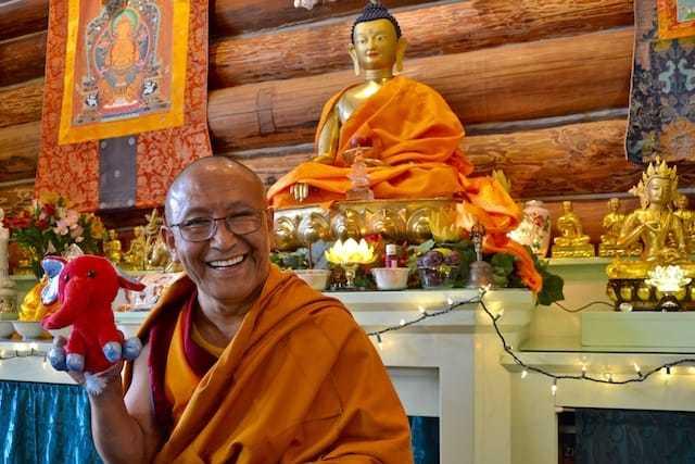 monk holding toy elephant