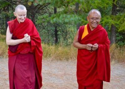 Ven. Samten enjoys assisting Geshe-la every day.