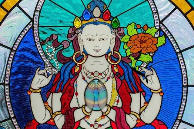 Buddhist stained glass window