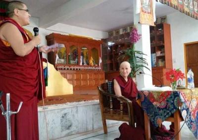 Geshe Tenzin Chopa Lhadron arranges for Venerable to speak at Jamyang Choling Nunnery.