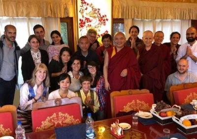 Abbey friend Cindy Shaw (front row, left) arranges a luncheon with Choegyal Rinpoche and classmates in his study program.