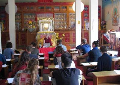 Ven. Chodron was scheduled to lead a retreat at Thosamling Nunnery but lost her voice on the first day. Ven. Damcho stepped in.