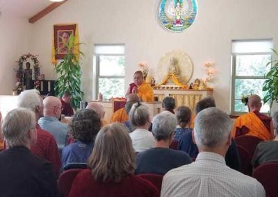His Eminence Ling Rinpoche does some prayers before teaching as well.