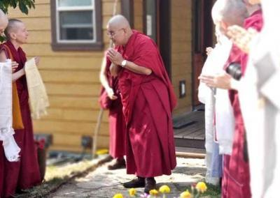 Guests and residents send Rinpoche off with the hope and request that he will return soon.