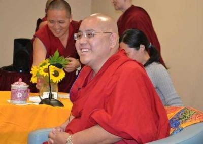 Ling Rinpoche speaks on compassion and cultural identity to a lunchtime audience at North Idaho College.