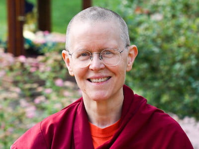 Close up Ven. Tarpa, Buddhist nun