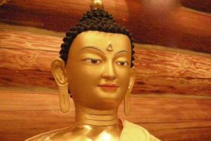 Close up of buddha's face Lhabab duchen