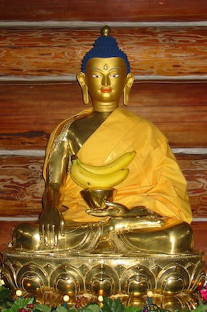 Close-up of golden Buddha for Lhabab Duchen