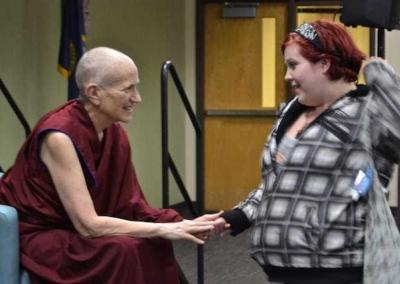A young student approaches Ven. Chodron for some advice.