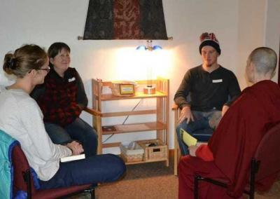 In the afternoon, guests and residents discuss the teachings, relating them to their personal experiences.