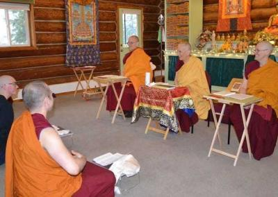 Ven. Tarpa, Ven. Chodron, and Ven. Chonyi serve as the elders for the request ceremony.