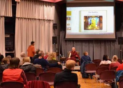 About 50 young people listen to Ven. Chodron's talk.