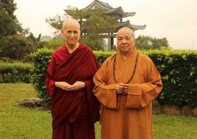 Ven. Chodron meets the Abbess of Luminary Temple in Taiwan Venerable Master WuYin.
